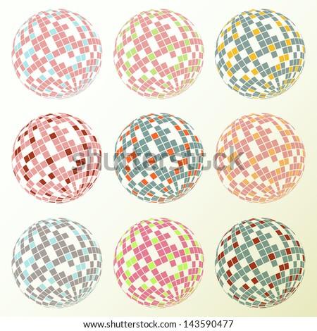 Disco balls set retro vector background - stock vector
