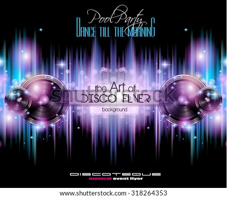 Disco Club Flyer Template for your Music Nights Event. Ideal for TEchno Music, Hip Hop and House Performance Posters and flyers for Discotheques and night clubs. - stock vector