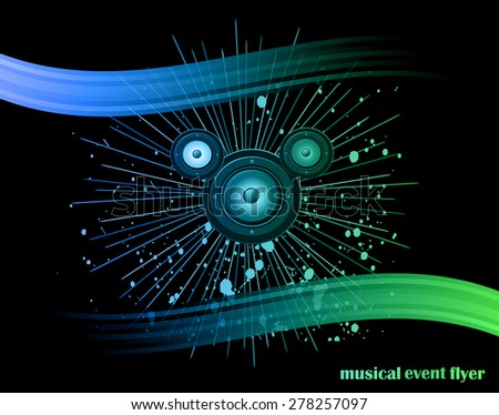 Disco club flyer with colorful elements. Ideal for poster and music background. - stock vector