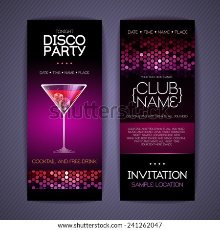 Disco Corporate identity templates. Cocktail - stock vector