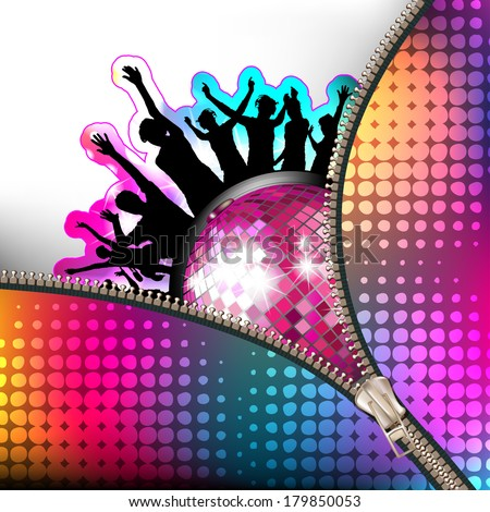 Disco globe and silhouettes covered by zipper - stock vector