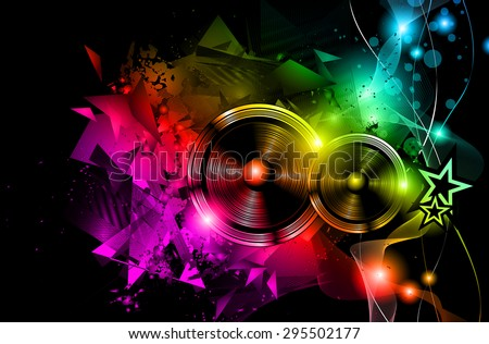 Disco Night Club Flyer layout with Speaker shape and music themed elements to use for Event Poster, Club advertisement, Night Contest promotions and Invitations. - stock vector