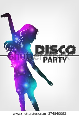 Disco Night Party Poster Background Template - Vector Illustration - stock vector