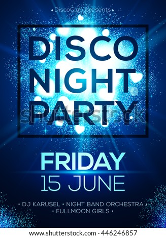 Disco night party vector poster template with shining blue shining spotlights background - stock vector