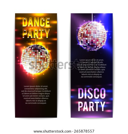Disco party banners vertical set with bright club balls isolated vector illustration - stock vector