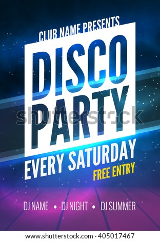 Disco Party Poster Template. Night Dance Party flyer. design template on dark colorful background.  - stock vector