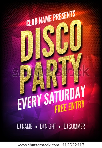 Disco Party Poster Template. Night Dance Party flyer. golden design template on dark colorful background.  - stock vector