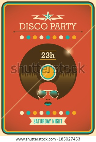 Disco party poster with retro design elements. Vector illustration. - stock vector