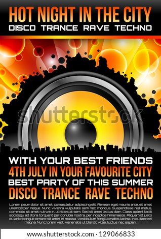 Disco Theme with speaker and with space for your text - stock vector
