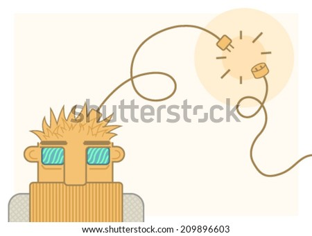 Disconnected guy cartoon, vector, horizontal, over white,  isolated  - stock vector