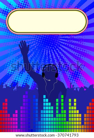 discotheque background with banner and DJ - stock vector