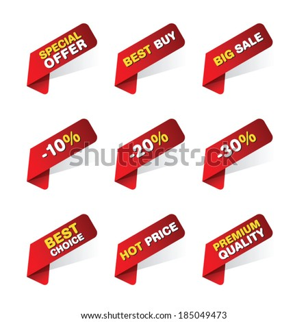 Discount and price tags for web or print - stock vector