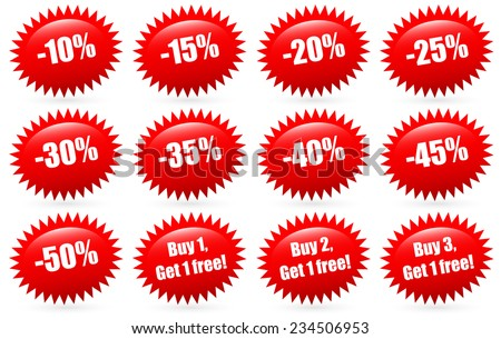 Discount badges and Buy 1, buy 2, buy 3... Get 1 free labels, flash shapes - stock vector