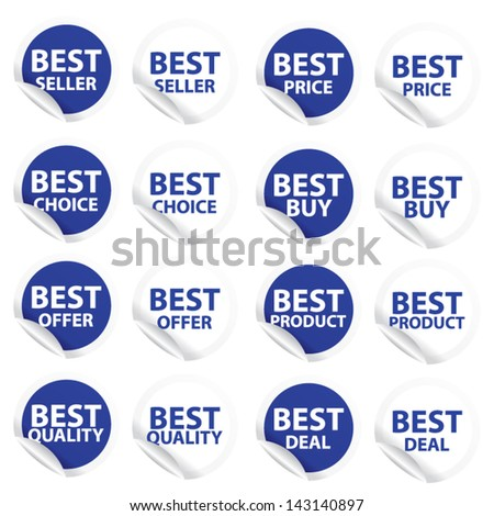 Discount blue labels and stickers sale 10 - 90 percent. Vector. - stock vector