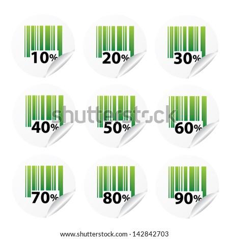 Discount green labels sale 10 - 90 percent. Vector. - stock vector