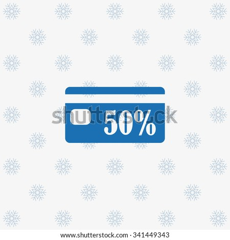 Discount label. icon. vector design background with snowflakes - stock vector