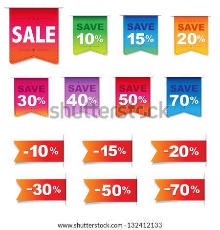 Discount Labels And Ribbons Set, Isolated On White Background, Vector Illustration - stock vector