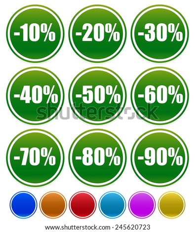 Discount labels, percents off from -10 to -90 - stock vector