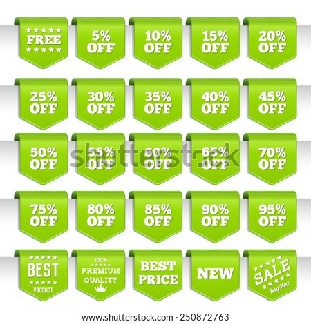 Discount labels set - stock vector