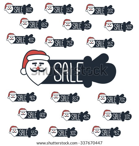 Discount labels with Santa's face and outstretched hand for the Christmas and New Year sales - stock vector