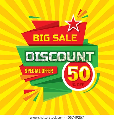 Discount 50 % off - advertising vector banner in origami retro style. Big sale layout. Special offer concept sticker.  - stock vector