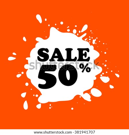 Discount on white blot. Colored blot. Orange color backgraund. Discount 50 percent. Discount 50 percent. Vector label. Fifty percent sale. - stock vector