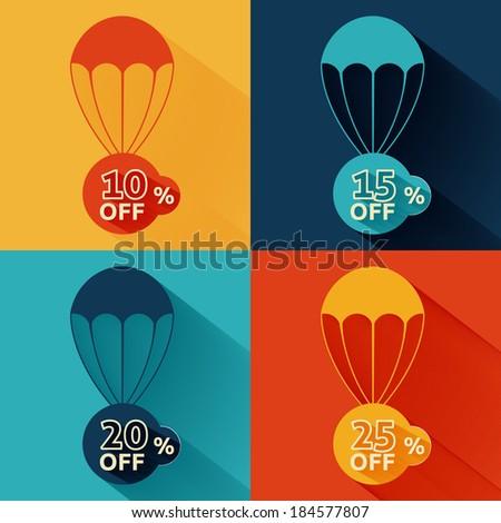 Discount parachute set - stock vector