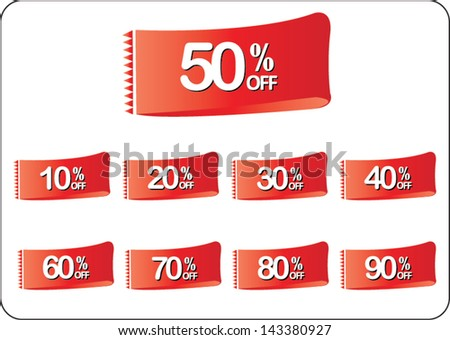 discount price tags web icon set on white background - stock vector