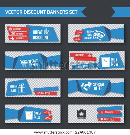 Discount promotion advertising blue origami paper banners set isolated vector illustration - stock vector