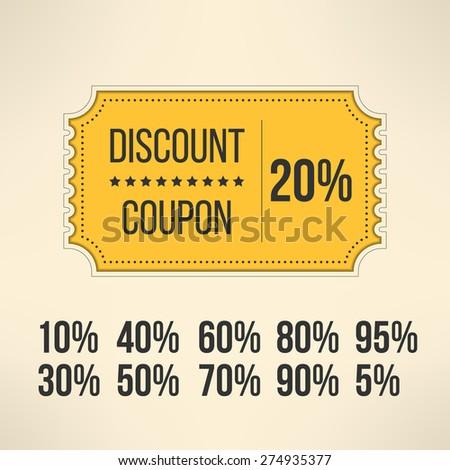 Discount promotion coupon in vintage design. Sale gift voucher card. Vector illustration. - stock vector