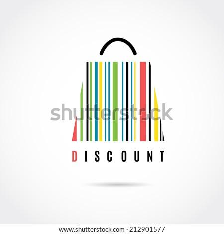 Discount. Shopping bag. Barcode vector image.  - stock vector