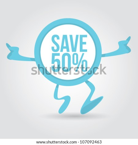 discount sticker character Vector Illustration - stock vector