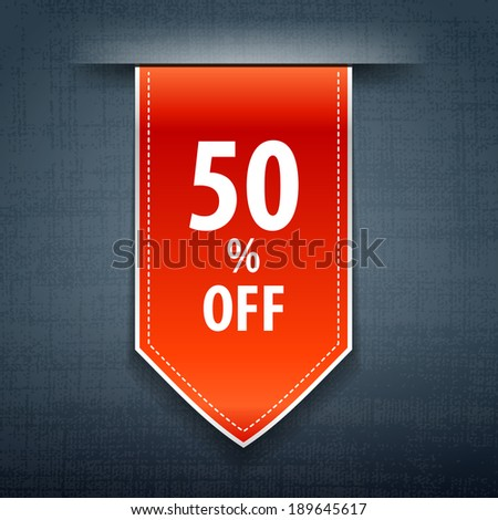 Discount sticker. Retail 50% Off Sale Poster. Vector eps 10. - stock vector