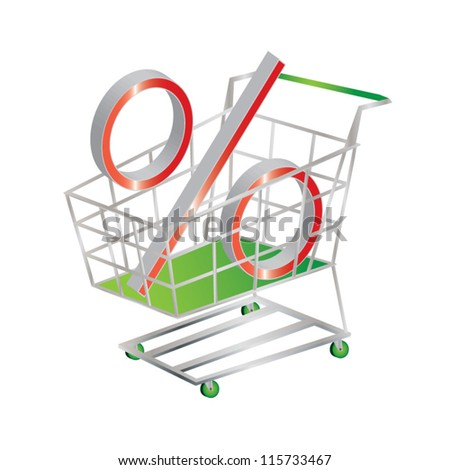 Discount symbolized by a percentage sign in a shopping cart, vector illustration - stock vector