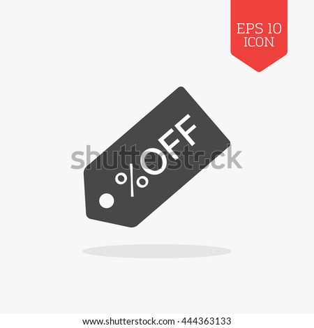 Discount tag icon. Flat design gray color symbol. Modern UI web navigation, sign. Illustration element - stock vector