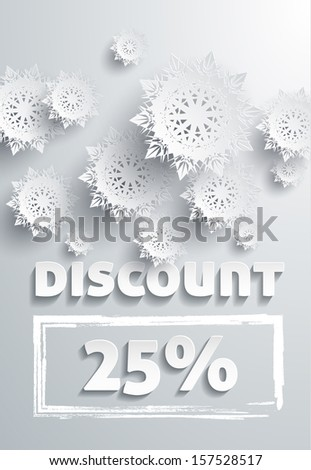 Discount text with numbers and snowflakes - stock vector