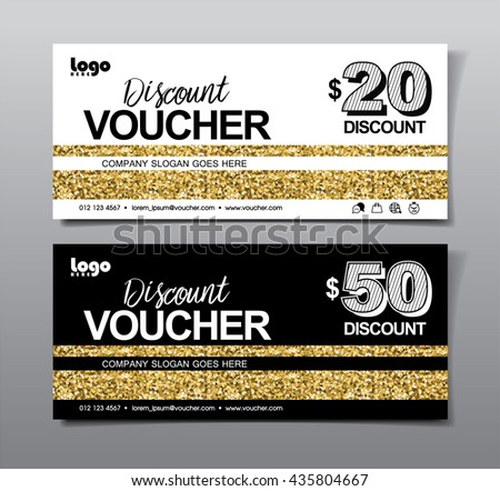 Discount voucher template with clean, modern, golden and rich pattern. Vector illustration - stock vector