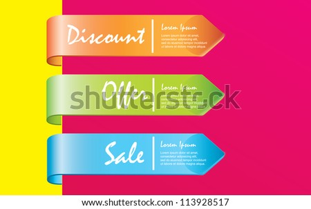 discounts labels over pink and yellow background vector illustration - stock vector