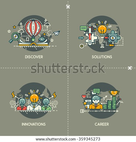 Discover, solutions, innovations, career - stock vector