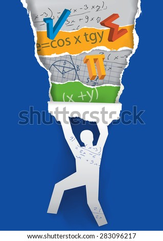 Discover the world of mathematics. Male  silhouette ripping paper background ad uncovering  mathematics symbols. Vector illustration.  - stock vector