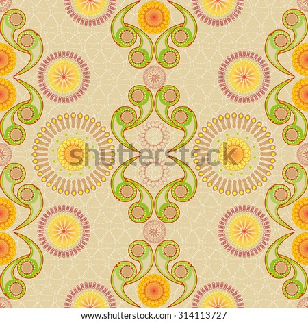 Discreet pattern with geometric floral elements. Seamless pattern with linear ordered elements - stock vector