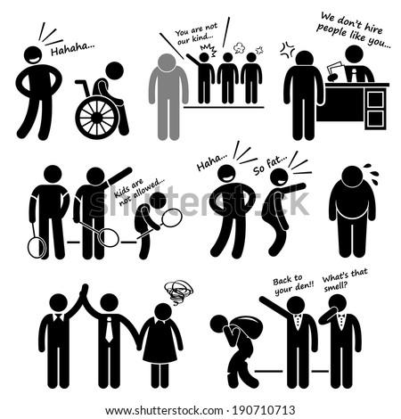 Discrimination Racist Prejudice Biased Stick Figure Pictogram Icon Cliparts - stock vector
