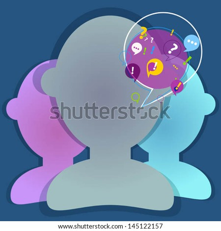discussion with color persons - stock vector