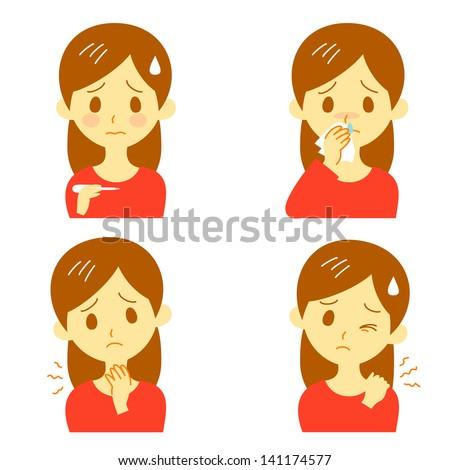 Disease Symptoms 02, fever,  sore throat,dripping nose,stiff shoulders - stock vector