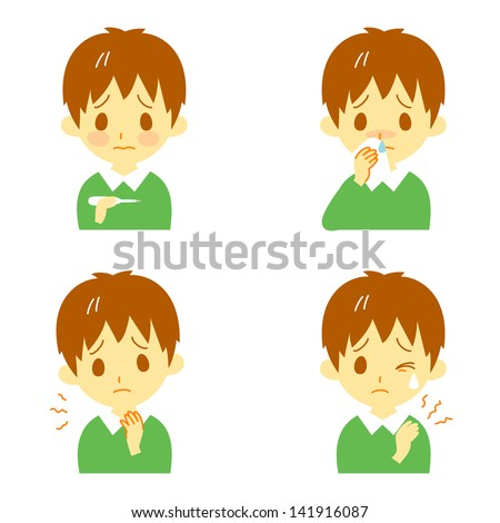 Disease Symptoms 02, fever, sore throat,dripping nose,stiff shoulders, expressions, boy - stock vector