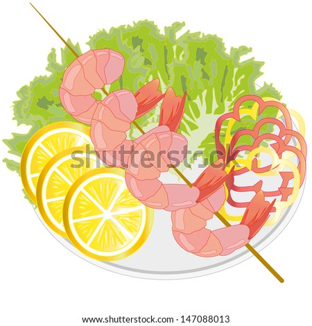 Dish from shrimps and vegetables.  - stock vector