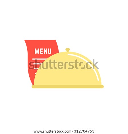dish icon with menu sheet. concept of maintenance catering, servant, diner, celebration, serving, food delivery. isolated on white background. flat style trend modern logo design vector illustration - stock vector