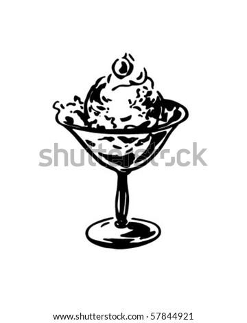Dish Of Ice Cream - Retro Clip Art - stock vector