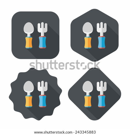 dish ware and cutlery flat icon with long shadow,eps10 - stock vector