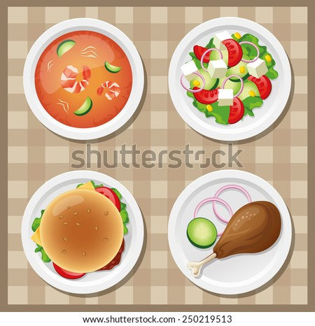 Dishes icon set. Vector Illustration - stock vector